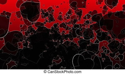 Abstract black Hearts on a dark red