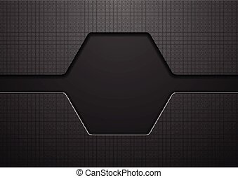 Abstract black hexagon technology background