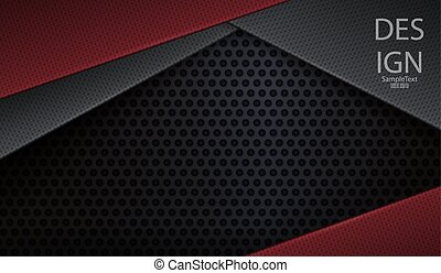 Abstract black holey background with texture frames in red and gray.