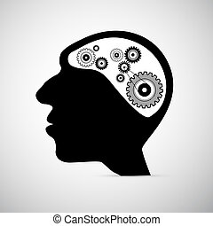 Abstract Black Human Head with Cogs, Gears Instead of Brain