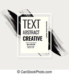 abstract black ink brush stroke banner
