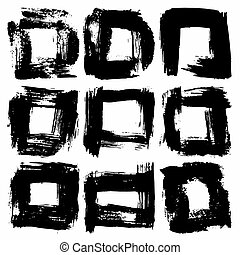 abstract black ink line collection of grunge texture vector illustration