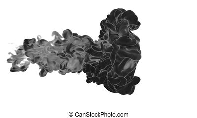 Abstract black Ink or smoke background with alpha mask. VFX Cloud of Ink for transitions, background, overlay and effects. For alpha channel use alpha matte. 3d render Ver 8