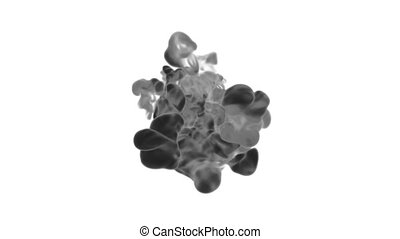 Abstract black Ink or smoke background with alpha mask. VFX Cloud of Ink for transitions, background, overlay and effects. For alpha channel use alpha matte. 3d render Ver 21