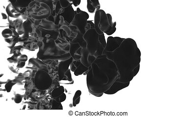 Abstract black Ink or smoke background with alpha mask. VFX Cloud of Ink for transitions, background, overlay and effects. For alpha channel use alpha matte. 3d render Ver 9