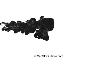 Abstract black Ink or smoke background with alpha mask. VFX Cloud of Ink for transitions, background, overlay and effects. For alpha channel use alpha matte. 3d render Ver 10