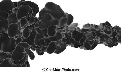 Abstract black Ink or smoke background with alpha mask. VFX Cloud of Ink for transitions, background, overlay and effects. For alpha channel use alpha matte. 3d render Ver 4