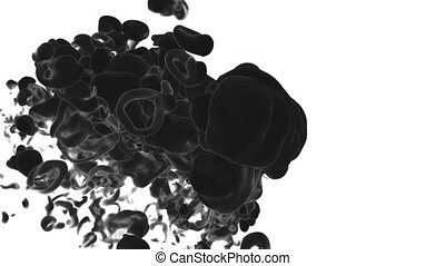 Abstract black Ink or smoke background with alpha mask. VFX Cloud of Ink for transitions, background, overlay and effects. For alpha channel use alpha matte. 3d render Ver 7