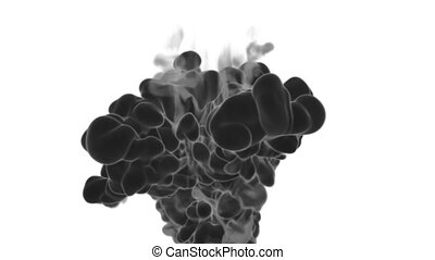 Abstract black Ink or smoke background with alpha mask. VFX Cloud of Ink for transitions, background, overlay and effects. For alpha channel use alpha matte. 3d render Ver 17