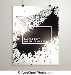 abstract black ink splatter poster leaflet template