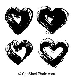Abstract black ink strokes in heart shape isolated on a white background