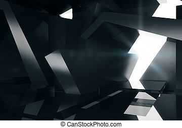 Abstract black interior