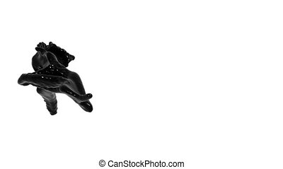 Abstract black liquid flow on white background.. sirup