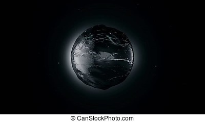 Abstract Black Oil Sphere Object Looping with Alpha Matte....