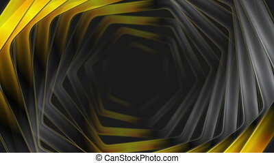 Abstract black orange glossy hexagons video animation -...