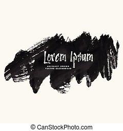 abstract black paint grunge stroke banner design