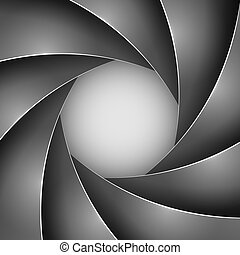 Abstract black photo shutter aperture vector background.