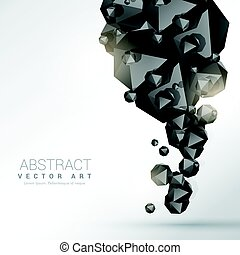 abstract black polyhedron particles background