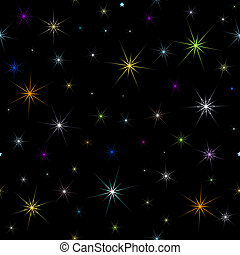 Abstract black seamless background with stars (vector)