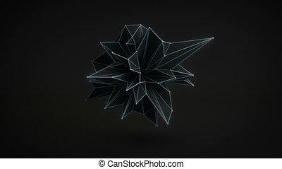 Abstract black shape rotating 3D render. Loop