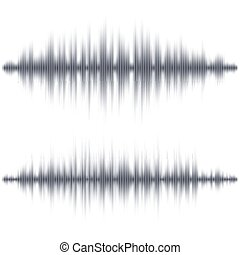 Abstract black soundwave shape on white background. Vector...
