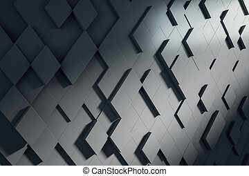 Abstract black square chaotic pattern. Background concept, 3d rendering