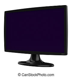 Abstract black TV monitor isolated on white background.