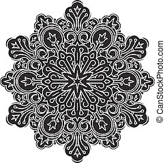 Abstract black vector round lace de
