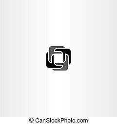 abstract black vector square logo business icon