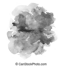 abstract black watercolor on white background