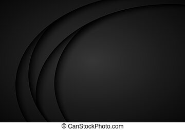 Abstract black wave vector background with blank space for your text. Dark overlayp layer papers. Modern corporate design vector illustration