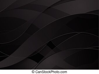 Abstract black waves vector background
