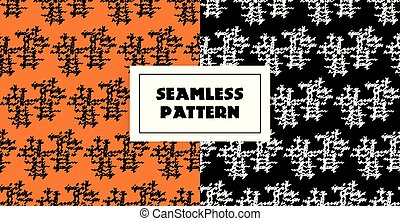 Abstract black white lines seamless pattern on orange and black background. Hand drawn graphic. May use it ffor mens clothing