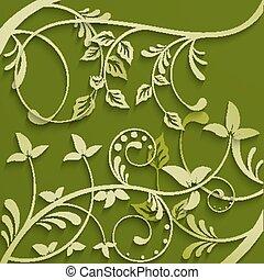 abstract, bladeren, groene, achtergrond.