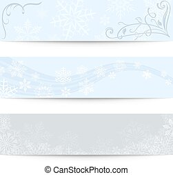 Abstract blank winter horizontal vector banners.