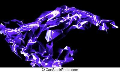 abstract, blauw glas, fragment, bocht, &, laser, stralen, digitale , golf, achtergrond