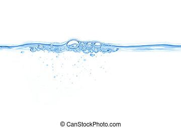 abstract, blauw water, bellen, achtergrond