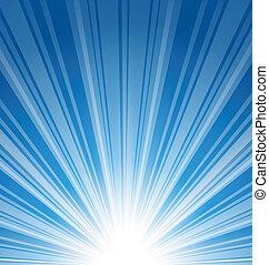 abstract, blauwe achtergrond, met, zonnestraal
