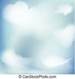 abstract, blauwe , duidelijke lucht, illustratie, wolken, achtergrond, vector