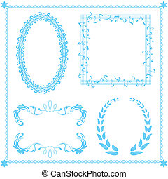 abstract, blauwe , frame, set