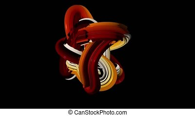 Abstract blob of white yellow brown. Black background -...