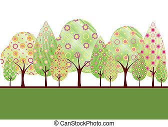 abstract, bloem, boompje, lente, kleurrijke