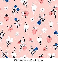 abstract, bloemen, en, besjes, op, roze