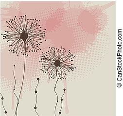 abstract, bloemen, grijze , achtergrond