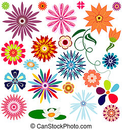 abstract, bloemen, (vector, verzameling