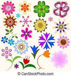 abstract, bloemen, verzameling, (vector)