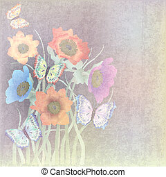 abstract, bloemen, vlinder, achtergrond