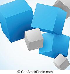 abstract, blokje, achtergrond, 3d