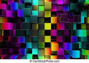abstract, blokjes, kleurrijke, achtergrond