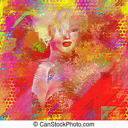Abstract Blonde, Splashed Paint